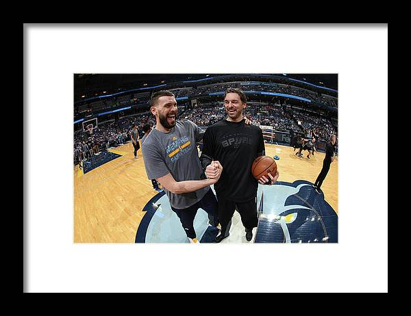 Nba Pro Basketball Framed Print featuring the photograph Marc Gasol and Pau Gasol by Joe Murphy