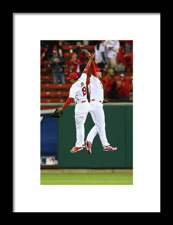 St. Louis Cardinals Framed Print featuring the photograph Matt Holliday and Jon Jay by Dilip Vishwanat