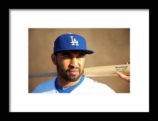Media Day Framed Print featuring the photograph Matt Kemp by Rob Tringali