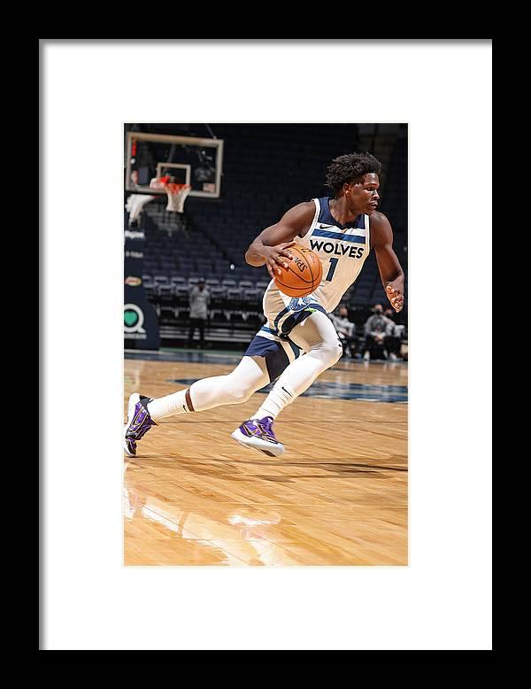 Nba Pro Basketball Framed Print featuring the photograph Memphis Grizzlies v Minnesota Timberwolves by David Sherman