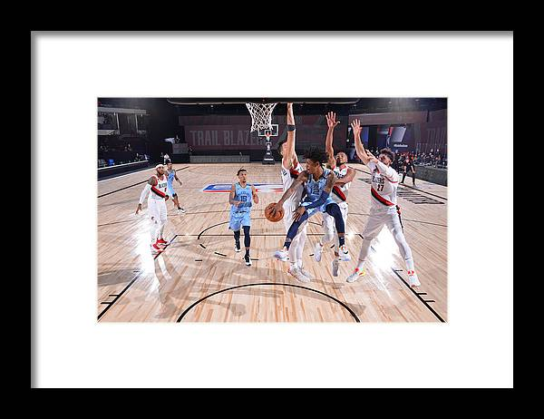 Nba Pro Basketball Framed Print featuring the photograph Memphis Grizzlies v Portland Trail Blazers by Jesse D. Garrabrant