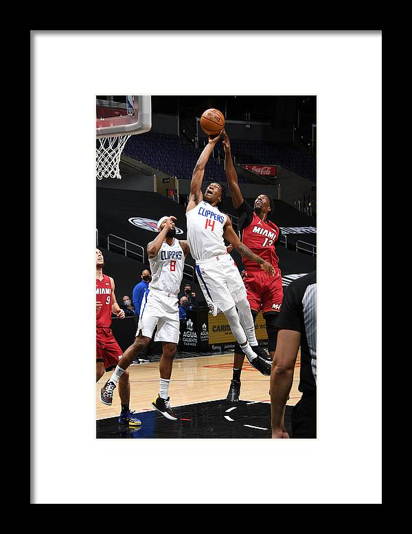 Nba Pro Basketball Framed Print featuring the photograph Miami Heat v Los Angeles Clippers by Adam Pantozzi