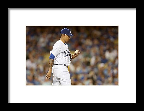 American League Baseball Framed Print featuring the photograph Miami Marlins v Los Angeles Dodgers by Stephen Dunn