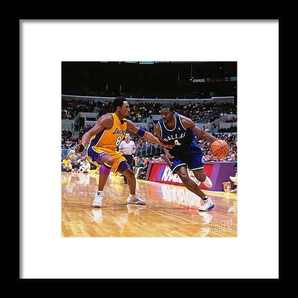 Nba Pro Basketball Framed Print featuring the photograph Michael Finley and Kobe Bryant by Robert Mora