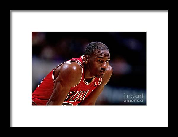 Chicago Bulls Framed Print featuring the photograph Michael Jordan by Nba Photos