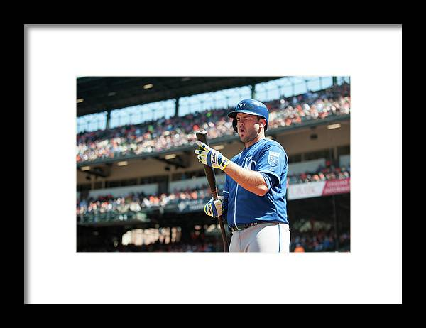 American League Baseball Framed Print featuring the photograph Mike Moustakas by Rob Tringali