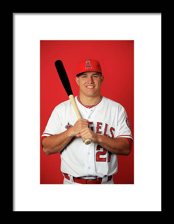 Media Day Framed Print featuring the photograph Mike Trout by Jamie Squire