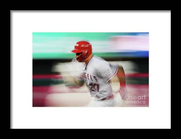 Three Quarter Length Framed Print featuring the photograph Mike Trout by Patrick Smith