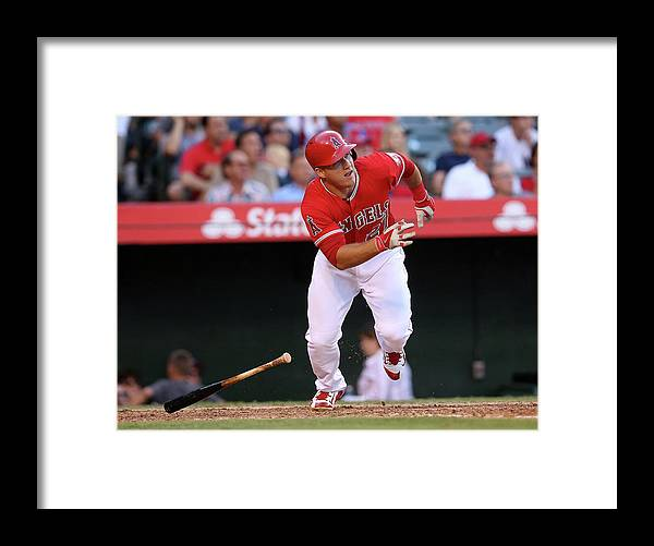 People Framed Print featuring the photograph Mike Trout by Stephen Dunn