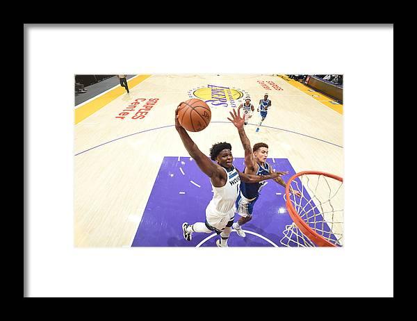 Nba Pro Basketball Framed Print featuring the photograph Minnesota Timberwolves v LA Lakers by Adam Pantozzi