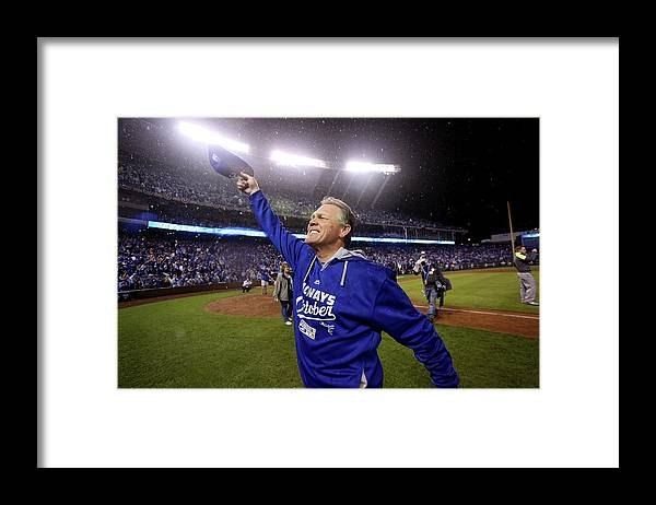 American League Baseball Framed Print featuring the photograph Ned Yost by Ed Zurga