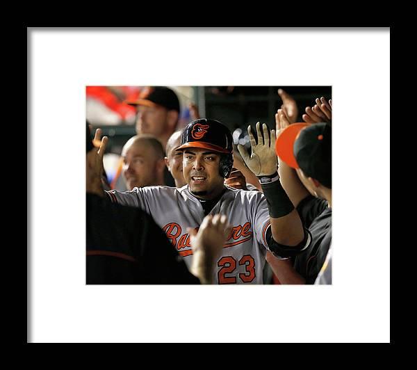 American League Baseball Framed Print featuring the photograph Nelson Cruz by Tom Pennington