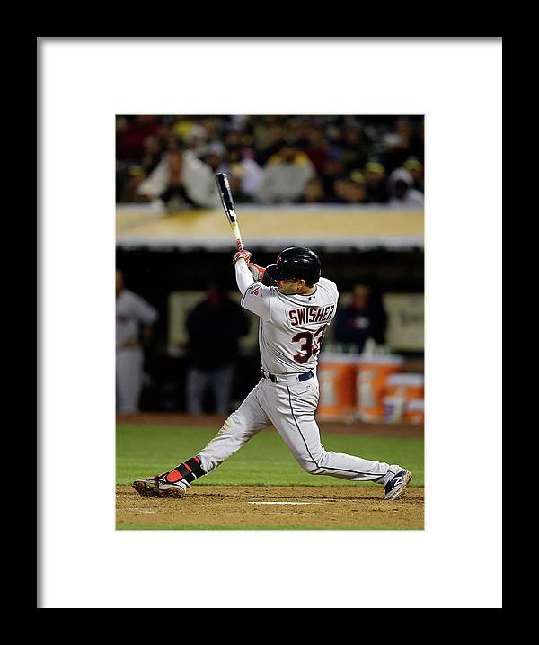 American League Baseball Framed Print featuring the photograph Nick Swisher by Ezra Shaw