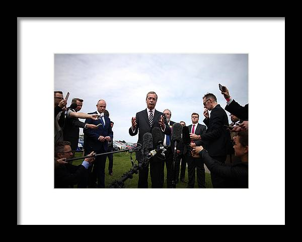 Failure Framed Print featuring the photograph Nigel Farage Resigns As Leader Of UKIP by Carl Court