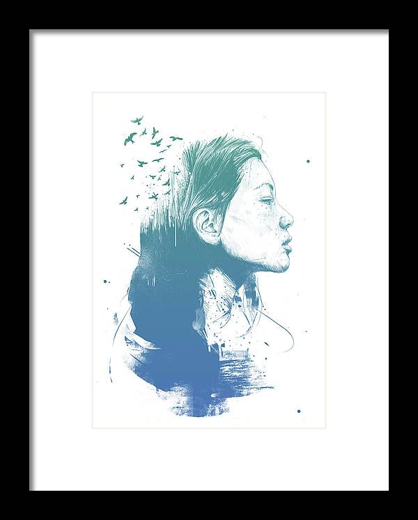 Girl Framed Print featuring the drawing Open your mind by Balazs Solti
