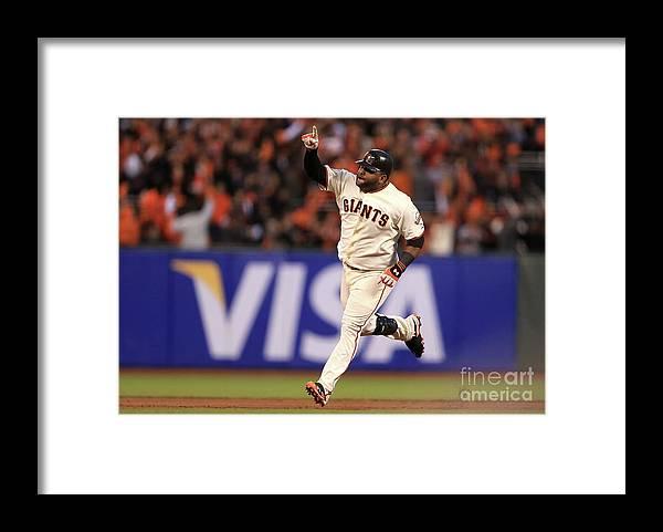 San Francisco Framed Print featuring the photograph Pablo Sandoval and Justin Verlander by Doug Pensinger