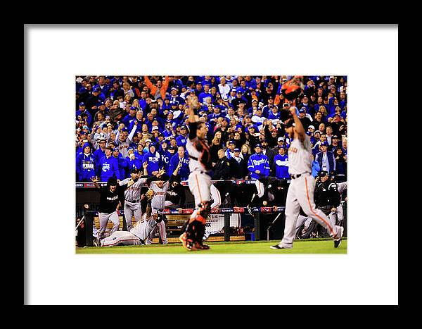 People Framed Print featuring the photograph Pablo Sandoval, Madison Bumgarner, And Buster Posey by Jamie Squire