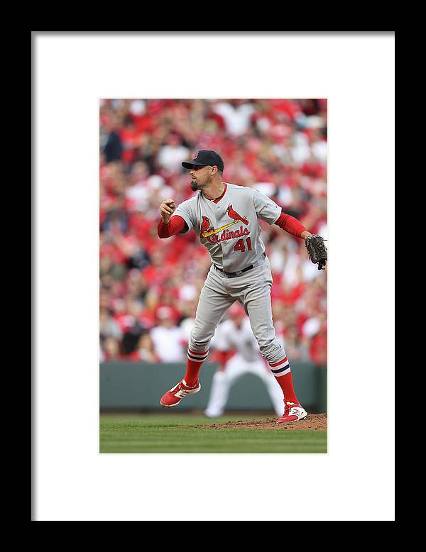 Great American Ball Park Framed Print featuring the photograph Pat Neshek by John Grieshop