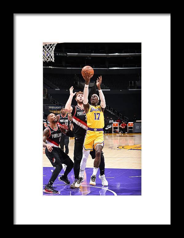 Nba Pro Basketball Framed Print featuring the photograph Portland Trail Blazers v LA Lakers by Adam Pantozzi