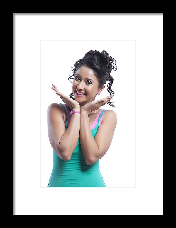 People Framed Print featuring the photograph Portrait of young woman smiling by IndiaPix/IndiaPicture