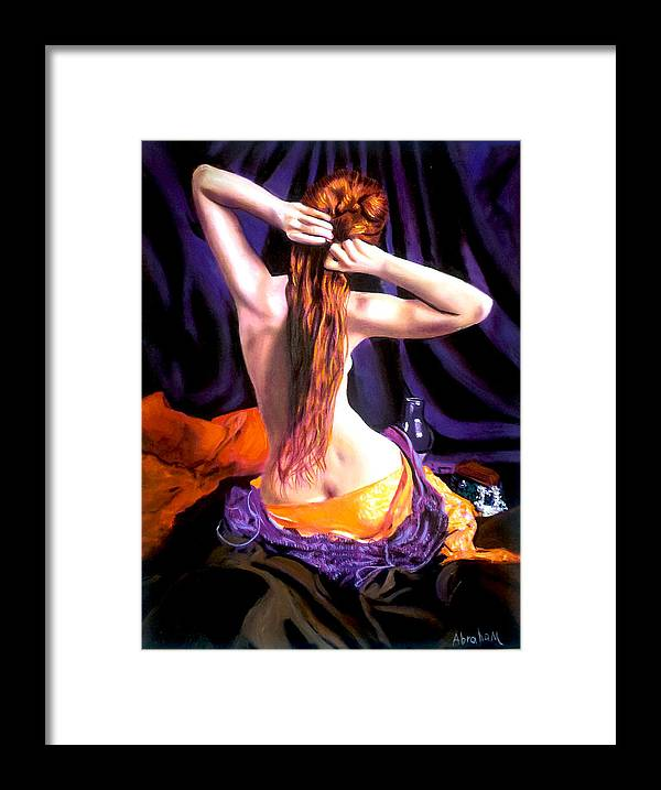 Nude Framed Print featuring the painting red by Jose Manuel Abraham