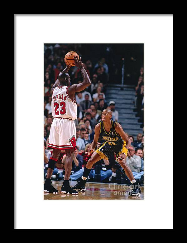 Chicago Bulls Framed Print featuring the photograph Reggie Miller and Michael Jordan by Nathaniel S. Butler