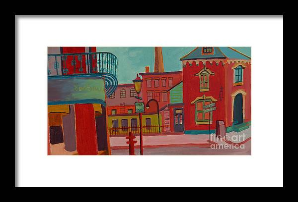 Cityscape Framed Print featuring the painting Middle Street in Lowell MA by Debra Bretton Robinson
