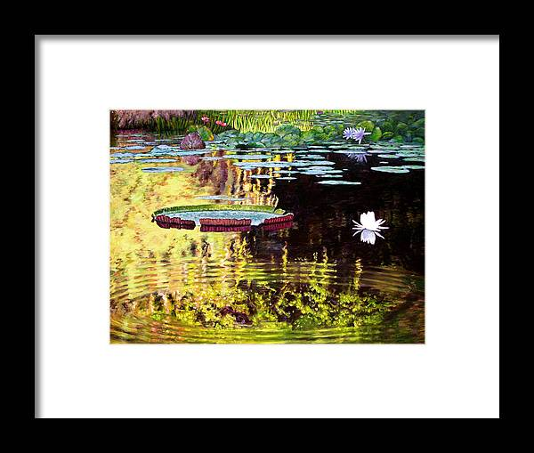 Garden Pond Framed Print featuring the painting Ripples On A Quiet Pond by John Lautermilch