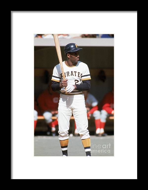 Sports Bat Framed Print featuring the photograph Roberto Clemente by Mlb Photos