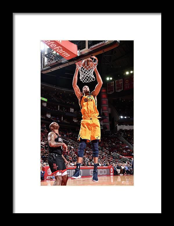 Nba Pro Basketball Framed Print featuring the photograph Rudy Gobert by Bill Baptist