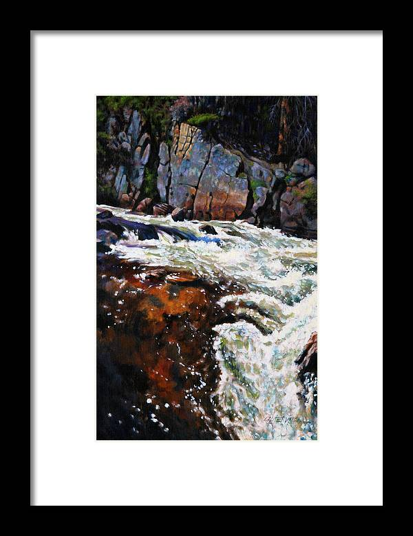 Mountain Stream Framed Print featuring the painting Rushing Waters Colorado by John Lautermilch