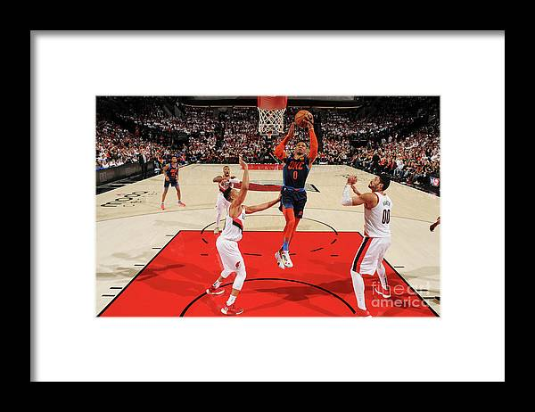 Playoffs Framed Print featuring the photograph Russell Westbrook by Cameron Browne