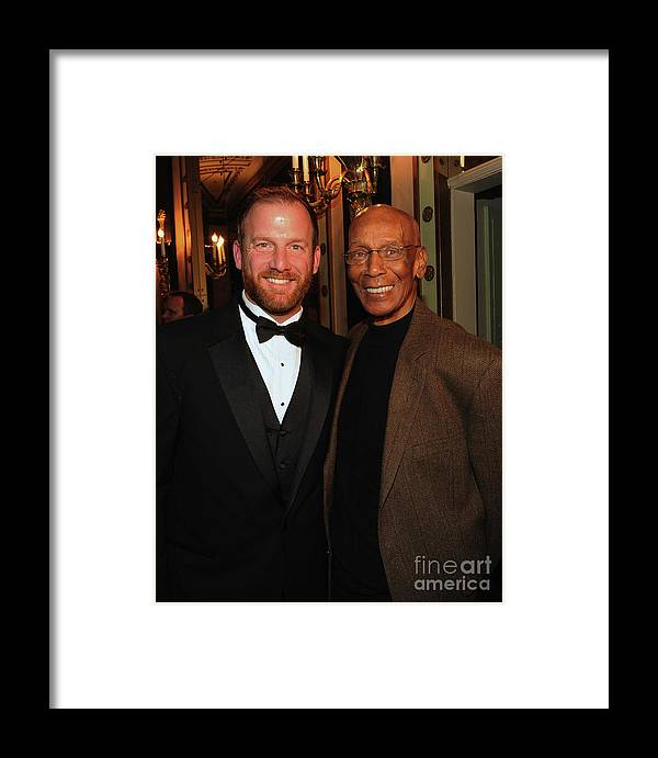 Ryan Dempster Framed Print featuring the photograph Ryan Dempster And Ernie Banks by Rick Diamond
