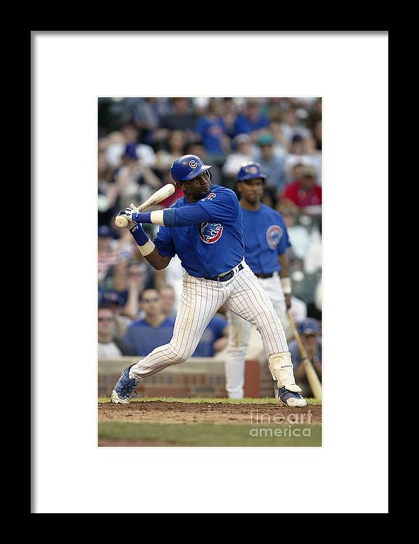 Motion Framed Print featuring the photograph Sammy Sosa by Ron Vesely
