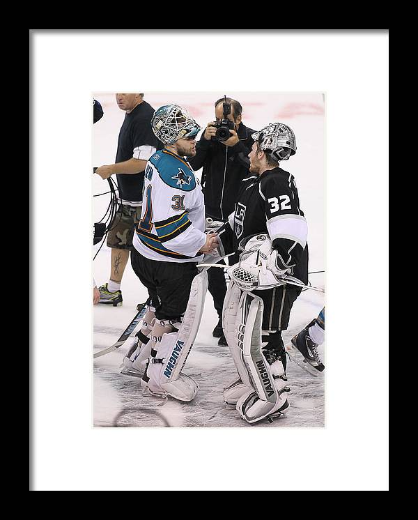 Playoffs Framed Print featuring the photograph San Jose Sharks v Los Angeles Kings - Game Seven by Victor Decolongon