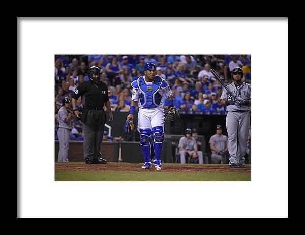 Salvador Perez Diaz Framed Print featuring the photograph Seattle Mariners v Kansas City Royals by Ed Zurga