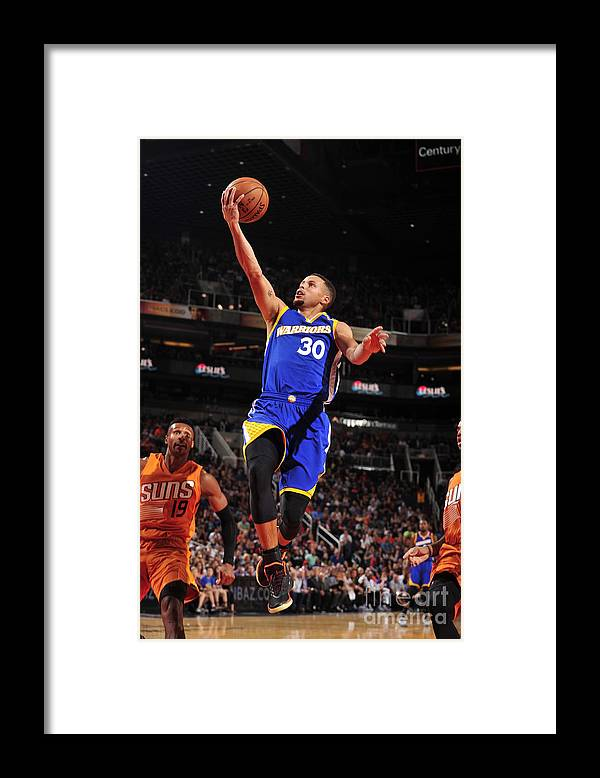 Nba Pro Basketball Framed Print featuring the photograph Stephen Curry by Barry Gossage
