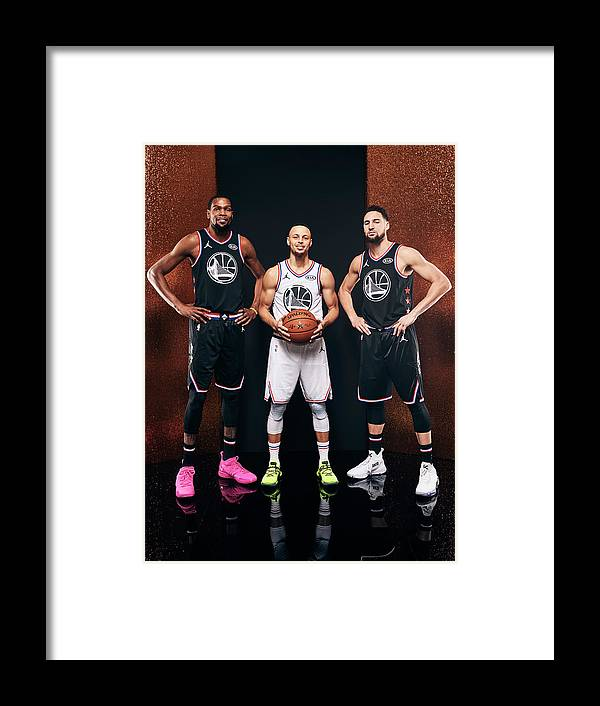Nba Pro Basketball Framed Print featuring the photograph Stephen Curry, Kevin Durant, and Klay Thompson by Jennifer Pottheiser