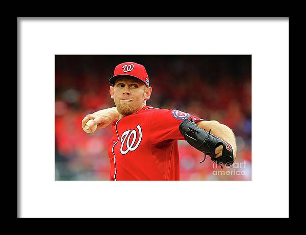 Stephen Strasburg Framed Print featuring the photograph Stephen Strasburg by Al Bello