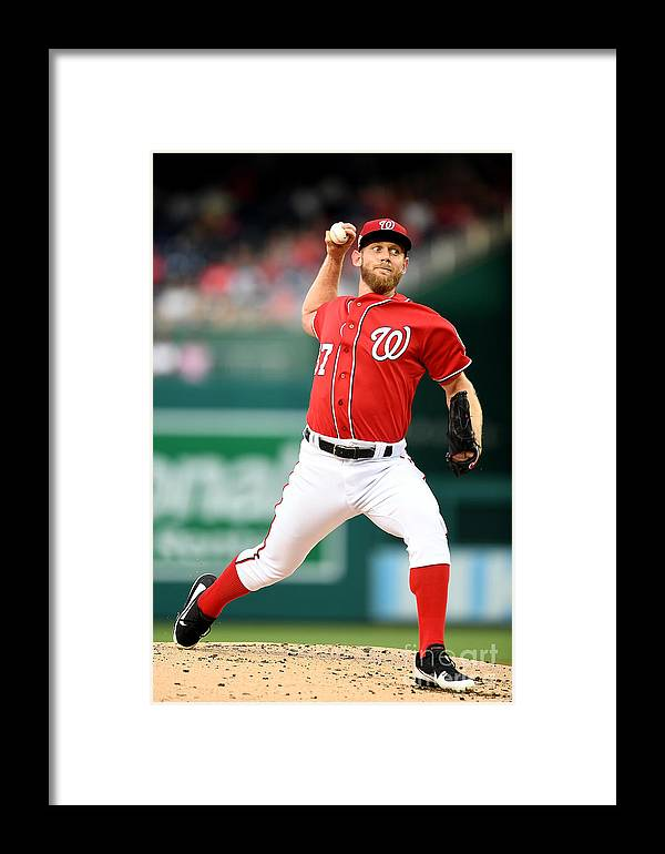 Second Inning Framed Print featuring the photograph Stephen Strasburg by Greg Fiume