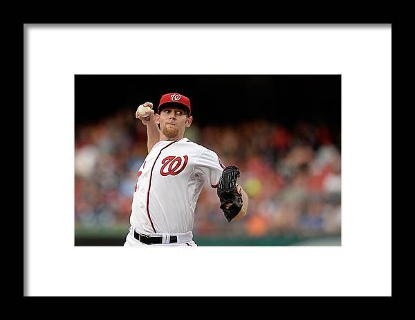 American League Baseball Framed Print featuring the photograph Stephen Strasburg by Patrick Mcdermott