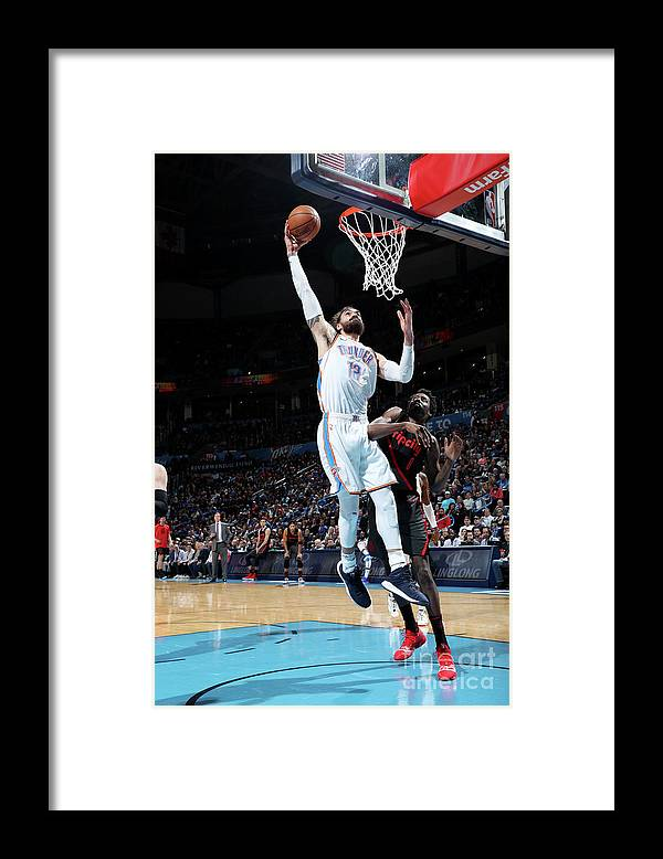 Nba Pro Basketball Framed Print featuring the photograph Steven Adams by Zach Beeker