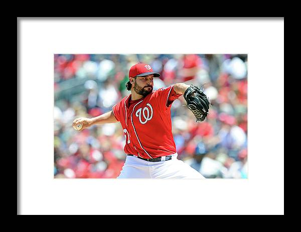 American League Baseball Framed Print featuring the photograph Tanner Roark by Greg Fiume