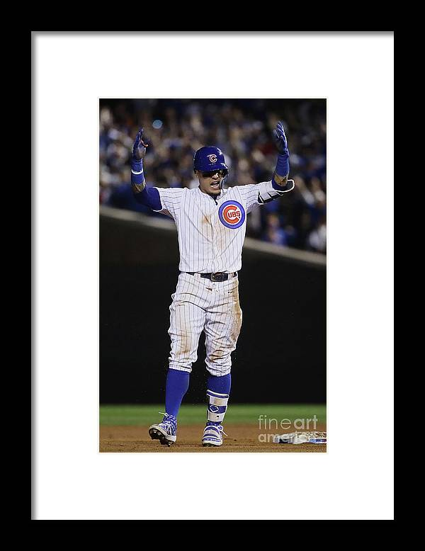 Playoffs Framed Print featuring the photograph Terrance Gore and Javier Baez by Jonathan Daniel