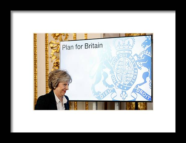 Theresa May Framed Print featuring the photograph The British Prime Minister Delivers Her Brexit Speech by WPA Pool