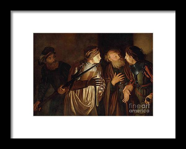 Coster Framed Print featuring the painting The Denial of Saint Peter by Adam de Coster