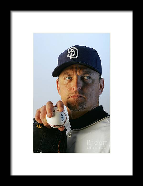 Media Day Framed Print featuring the photograph Trevor Hoffman by Jeff Gross