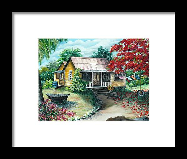 Landscape Painting Caribbean Painting Tropical Painting Island House Painting Poinciana Flamboyant Tree Painting Trinidad And Tobago Painting Framed Print featuring the painting Trinidad Life by Karin Dawn Kelshall- Best