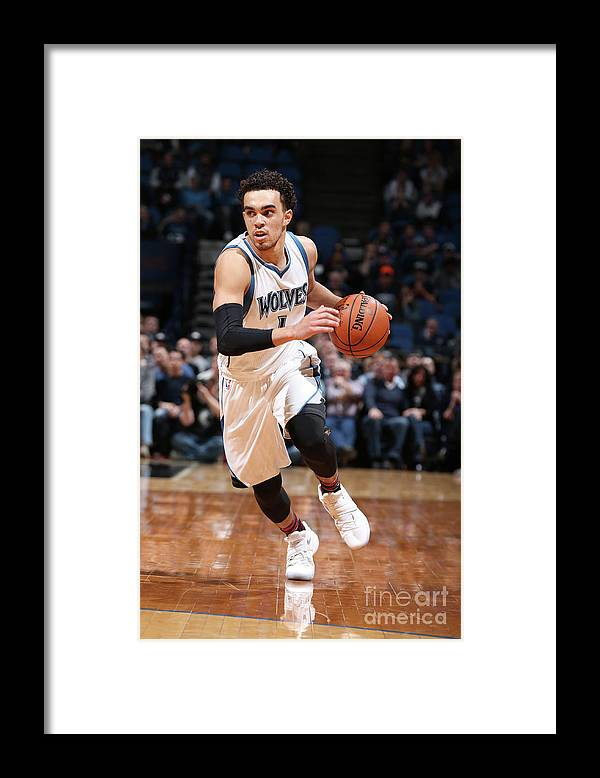 Nba Pro Basketball Framed Print featuring the photograph Tyus Jones by David Sherman