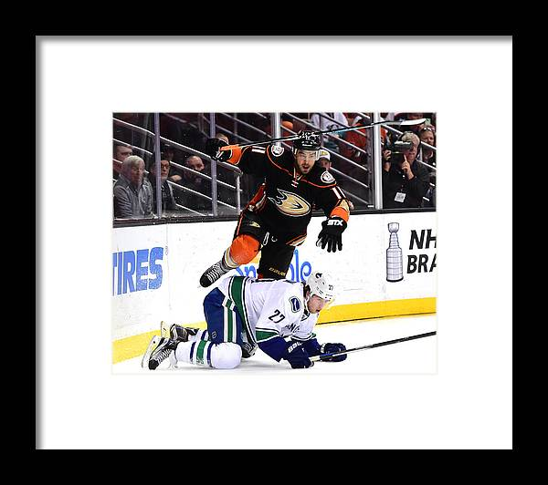People Framed Print featuring the photograph Vancouver Canucks v Anaheim Ducks by Harry How